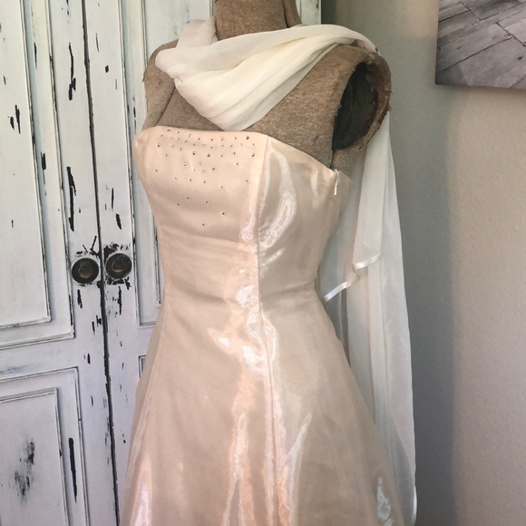 Jessica McClintock Dresses & Skirts - Size 2 formal dress cream sparkles with sash